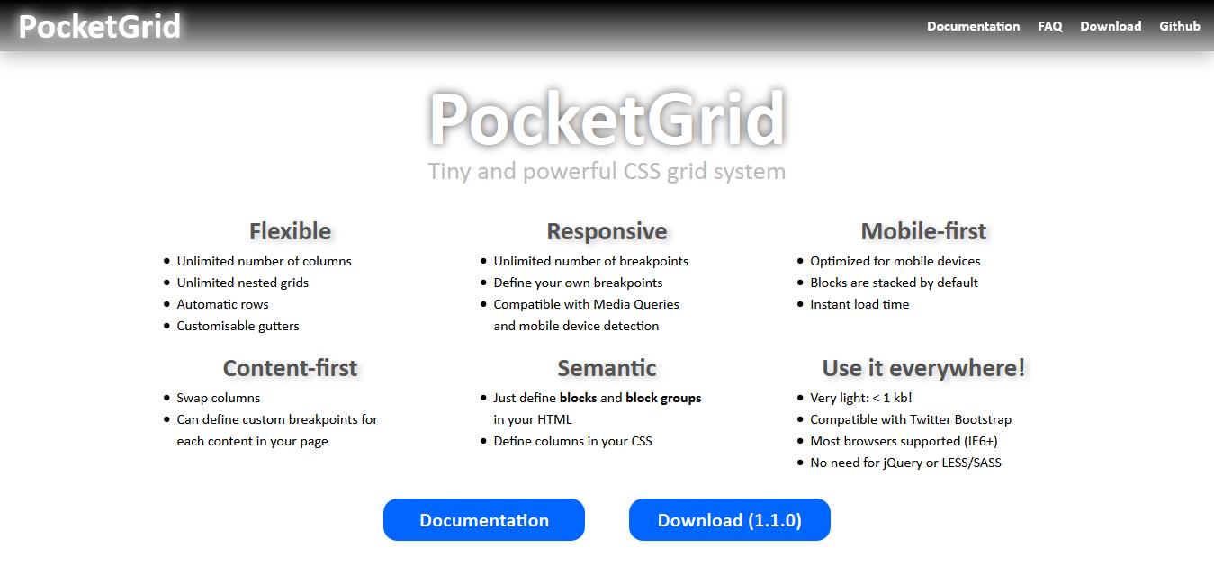 PocketGrid Framework CSS